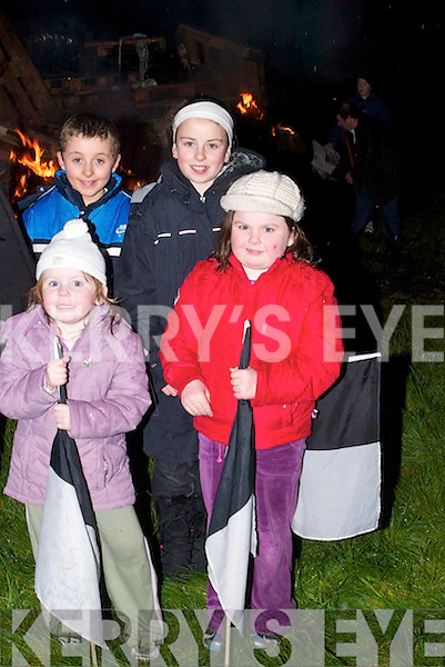 YOUNG: Sarah and Emma Lawlor, Micheal and Aisling O'Sullivan, young fans of the Ardfert Team who waited for their team to come home to Ardfert on Sunday night..