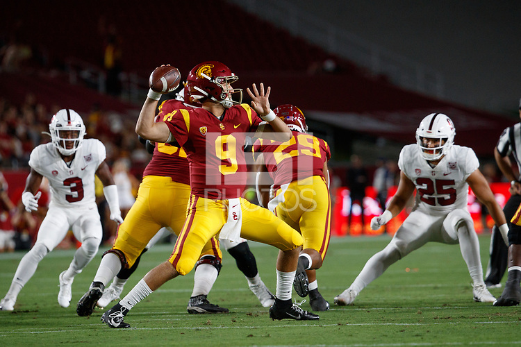 LOS ANGELES, CA - SEPTEMBER 7: USC Trojans quarterback Kedon Slovis #9 throws a pass during a game between USC and Stanford Football at Los Angeles Memorial Coliseum on September 7, 2019 in Los Angeles, California.