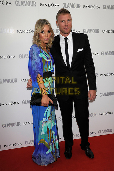 "Rachael & Andrew ""Freddie"" Flintoff.Women Of The Year 2012 - Glamour Awards, Berkeley Square, London, England..29th May 2012.full length blue black green slit split dress suit married husband wife clutch bag.CAP/PL.©Phil Loftus/Capital Pictures."