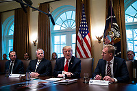 U.S. President Donald Trump speaks beside Alex Azar, secretary of Health and Human Services (HHS), David Bernhardt, acting U.S. secretary of interior, left, and Patrick Shanahan, acting U.S. secretary of defense, during a cabinet meeting in the Cabinet Room of the White House, on Wednesday, Jan. 2, 2019 in Washington, D.C. Photo Credit: Al Drago/CNP/AdMedia