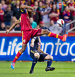 Real Salt Lake defender Chris Schuler (28) controls the ball against Philadelphia Union in the second half Saturday, March 14, 2015, during the Major League Soccer game at Rio Tiinto Stadium in Sandy, Utah. (© 2015 Douglas C. Pizac)
