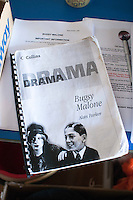 """The script, dress rehearsal for school production of """"Bugsy Malone"""", state secondary school."""