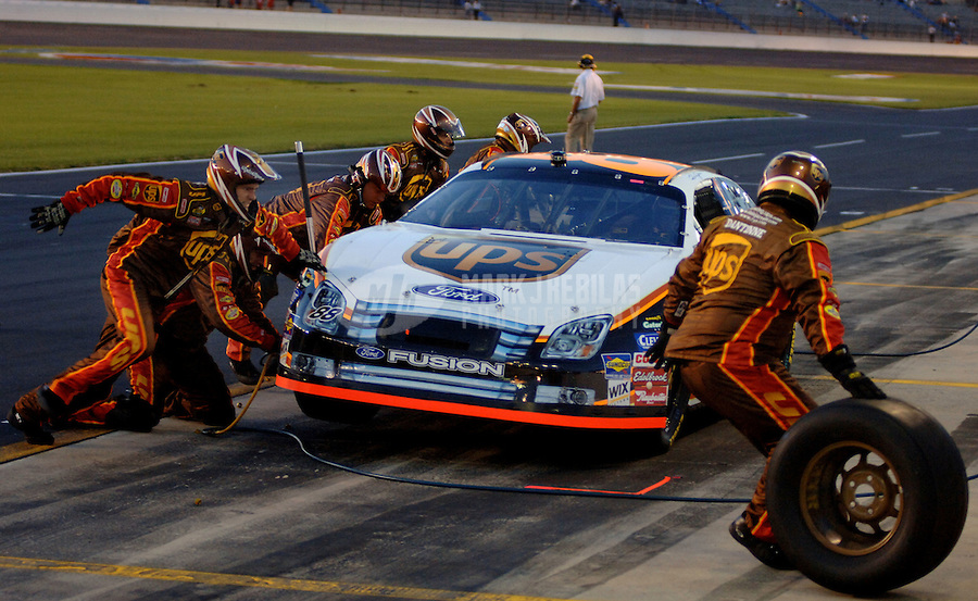 May 19, 2006; Charlotte, NC, USA; Nascar Nextel Cup driver Dale Jarrett (88) pits during qualifying for the Nextel All Star Challenge at Lowes Motor Speedway. Mandatory Credit: Mark J. Rebilas.