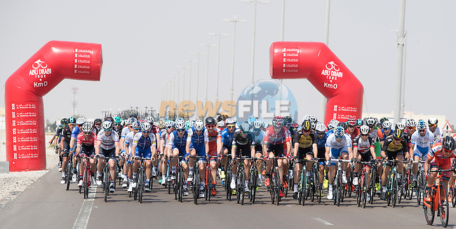 The start of Stage 1 Emirates Motor Company Stage of the 2017 Abu Dhabi Tour, running 189km from Madinat Zayed through the desert and back to Madinat Zayed, Abu Dhabi. 23rd February 2017<br /> Picture: ANSA/Claudio Peri | Newsfile<br /> <br /> <br /> All photos usage must carry mandatory copyright credit (&copy; Newsfile | ANSA)