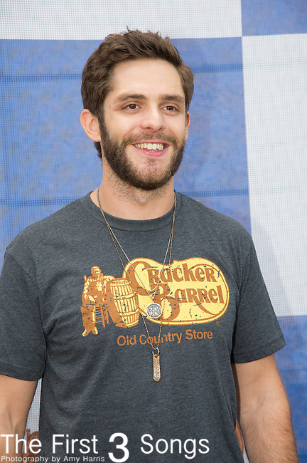 Thomas Rhett attends the Cracker Barrel Old Country Store Country Checkers Challenge at Globe Life Park in Arlington on April 18, 2015 in Arlington, Texas