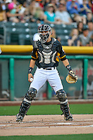 Anthony Bemboom (36) of the Salt Lake Bees on defense against the Tacoma Rainiers in Pacific Coast League action at Smith's Ballpark on July 23, 2016 in Salt Lake City, Utah. The Rainiers defeated the Bees 4-1. (Stephen Smith/Four Seam Images)