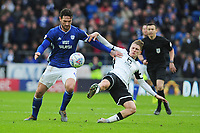 Sean Morrison of Cardiff City battles with George Byers of Swansea City during the Sky Bet Championship match between Cardiff City and Swansea City at the Cardiff City Stadium in Cardiff, Wales, UK. Sunday 12 January 2020