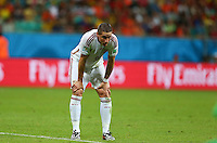 Fernando Torres of Spain shows a look of dejection