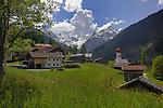 Farm buildings and church, Hahntennjoch pass, Pfafflar, Imst district, Tyrol, Tirol, Austria.