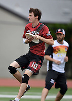 May 24, 2015; Los Angeles, CA, USA; Los Angeles Aviators offensive cutter Sean McDougall (10) against the San Francisco Flamethrowers in an American Ultimate Disc League (AUDL) match at Occidental College. The Aviators defeated the Flamethrowers 23-22. <br /> <br /> Photo by Kirby Lee