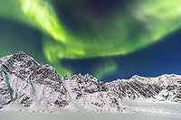 Aurora Borealis -- Northern Lights over Denali (Mt. Mckinley) in the Ruth Glacier and Amphitheater in the Alaska Range.  Winter 2017<br /> <br /> Photo by Jeff Schultz/SchultzPhoto.com  (C) 2017  ALL RIGHTS RESERVED