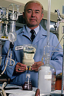 Los Angeles, CA, November 1982. Dr. Drees, President of Alpha Therapeutic, the company that was producing Fluosol in USA, inside a laboratory were the artificial blood used to be manufactured. - Fluosol is an artificial blood substitute which is milky in color. First tested in the United States in 1982, its recipients being individuals who refused blood transfusions on religious grounds. From 1989 to 1992, Fluosol was used in more than 40,000 human subjects. Due to difficulty with the emulsion storage of Fluosol use (frozen storage and rewarming), its popularity declined and its production ended.