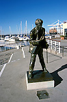California: Oakland. Jack London statue at Jack London Square..Photo copyright Lee Foster 510/549-2202, lee@fostertravel.com, www.fostertravel.com,.Photo #: caoakl300