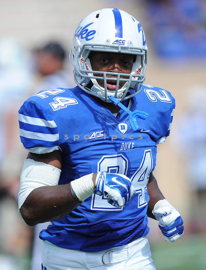 Duke Blue Devils Xavier Carmichael (24) during a game against the Tulane Green Wave on September 20, 2014 at Wallace Wade Stadium in Durham, NC. Duke beat Tulane 47-13.