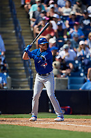 Toronto Blue Jays third baseman Brandon Drury (3) at bat during a Grapefruit League Spring Training game against the New York Yankees on February 25, 2019 at George M. Steinbrenner Field in Tampa, Florida.  Yankees defeated the Blue Jays 3-0.  (Mike Janes/Four Seam Images)