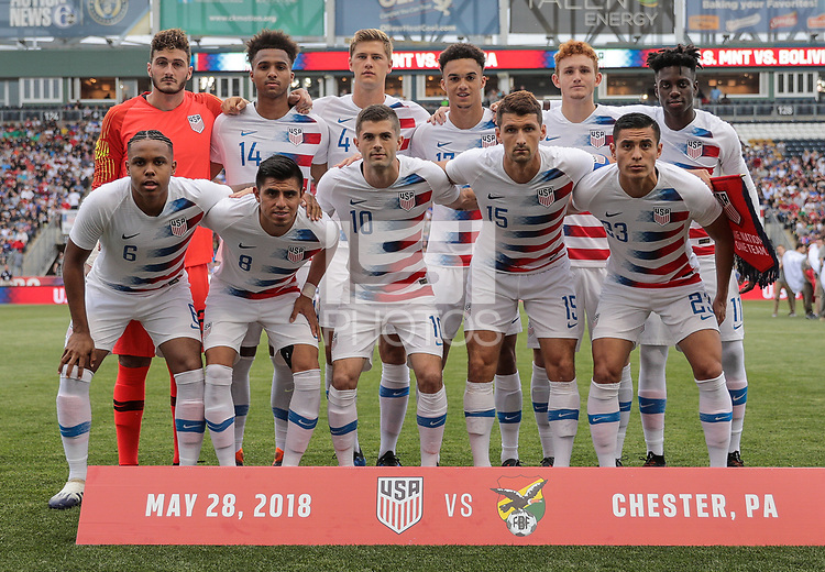 Chester, PA - Monday May 28, 2018: USMNT starting eleven vs Bolivia during an international friendly match between the men's national teams of the United States (USA) and Bolivia (BOL) at Talen Energy Stadium.