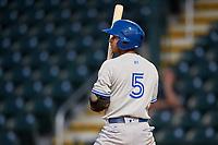 Dunedin Blue Jays second baseman Yeltsin Gudino (5) at bat during a game against the Bradenton Marauders on May 2, 2018 at LECOM Park in Bradenton, Florida.  Bradenton defeated Dunedin 6-3.  (Mike Janes/Four Seam Images)