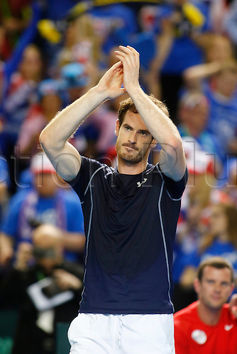06.03.2016. Barclaycard Arena, Birmingham, England. Davis Cup Tennis World Group First Round. Great Britain versus Japan. Great Britain's Andy Murray celebrates winning match point at the end of his singles match against Japan's Kei Nishikori on day 3 of the tie and taking Team GBR to the quarterfinals.
