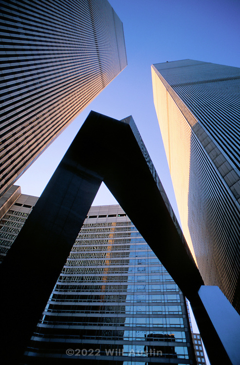 "World Trade Center seen with the ""Ideogram"" sculpture by James Rosati, Manhattan, New York City, New York, USA."