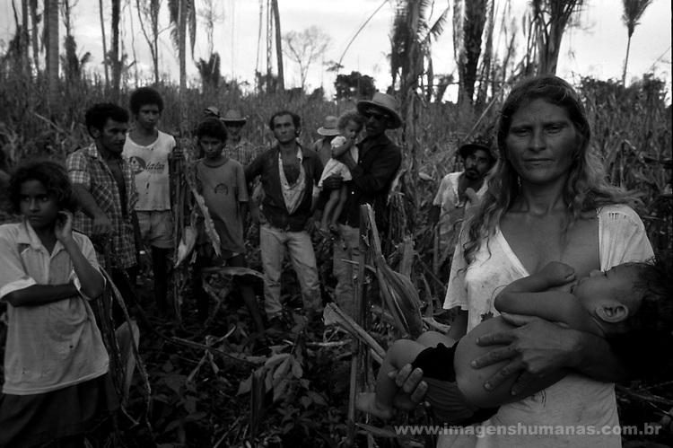 trabalhadores rurais em área de conflito.fazenda nazaré.rio Maria..pará..rural workers in conflict area  .farm nazaré  .river Maria  .pará.