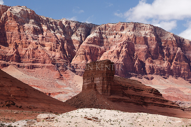 Varying colors of rock formations and cliffs along the Colorado River at Canyon Ferry in Arizona