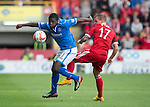 Aberdeen v St Johnstone...31.08.13      SPFL<br /> Nigel Hasselbaink and Gregg Wylde<br /> Picture by Graeme Hart.<br /> Copyright Perthshire Picture Agency<br /> Tel: 01738 623350  Mobile: 07990 594431
