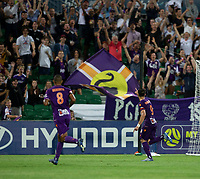 7th February 2020; HBF Park, Perth, Western Australia, Australia; A League Football, Perth Glory versus Wellington Phoenix; Bruno Fornaroli of the Perth Glory celebrates as he scores in extra time to make the score 4-2 to the Glory