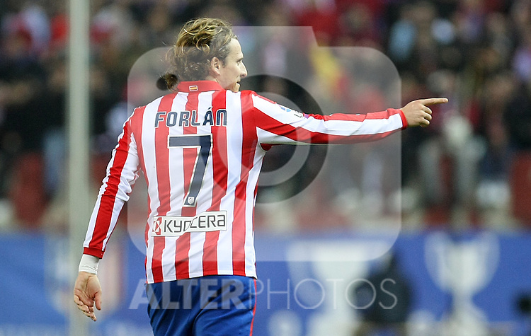 Atletico de Madrid's Diego Forlan during La Liga match.(ALTERPHOTOS/Acero)