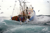 """The F/V Miss Leona, a trawler in the Alaska Pollock fishery, battles stormy seas in the Bering Sea in the heart of winter. According to the At Sea processors website: """"Pollock vessels tow cone-shaped, mid-water trawl nets to harvest the resource.  Pollock swim in enormously large schools above the ocean floor.  The fishing nets do not drag along the ocean bottom."""""""