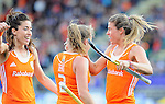 The Hague, Netherlands, June 05: Carlien Dirkse van den Heuvel #9 of The Netherlands celebrates after scoring 0-1 during the field hockey group match (Women - Group A) between New Zealand and The Netherlands on June 5, 2014 during the World Cup 2014 at Kyocera Stadium in The Hague, Netherlands. Final score 0-2 (0-2) (Photo by Dirk Markgraf / www.265-images.com) *** Local caption ***