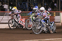 Heat 7: Patrick Hougaard (white), Justin Sedgmen (blue) and Linus Sundstrom - Lakeside Hammers vs Peterborough Panthers - Sky Sports Elite League Speedway at Arena Essex Raceway, Purfleet - 14/09/12 - MANDATORY CREDIT: Gavin Ellis/TGSPHOTO - Self billing applies where appropriate - 0845 094 6026 - contact@tgsphoto.co.uk - NO UNPAID USE.
