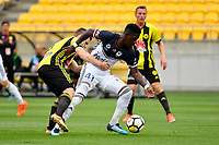 Melbourne Victory&rsquo;s Leroy George and Wellington Phoenix&rsquo; Scott Galloway in action during the A League - Wellington Phoenix v Melbourne Victory FC at Westpac Stadium, Wellington, New Zealand on Sunday 3 December.<br /> Photo by Masanori Udagawa. <br /> www.photowellington.photoshelter.com