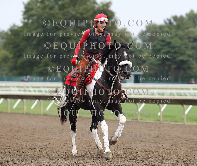 Morning Workouts at Monmouth Park Racetrack in Oceanport, N.J.  Photo By Bill Denver/EQUI-PHOTO.Stacy Machiz on the track at Monmouth Park.