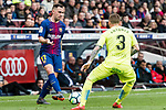 Francisco Alcacer Garcia, Paco Alcacer, of FC Barcelona (L) fights for the ball with Vitorino Gabriel Pacheco Antunes of Getafe CF (R) during the La Liga 2017-18 match between FC Barcelona and Getafe FC at Camp Nou on 11 February 2018 in Barcelona, Spain. Photo by Vicens Gimenez / Power Sport Images