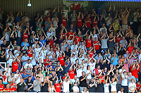 FAO SPORTS PICTURE DESK<br /> Pictured: Swansea supporters celebrating. Saturday 18 August 2012<br /> Re: Barclay's Premier League, Queens Park Rangers v Swansea City FC at Loftus Road Stadium, London, UK.