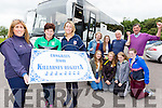 Rowing fans Ester Brosnan, Cathy Brosnan and Norma Jean Leane leading the cheering for the bus load of Killarney rowers who travelled to Skibereen on Monday to welcome home the O'Donovan brothers from the Olympics