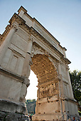 The fresco showing the Golden Menorah in the Arch of Titus, located on the Via Sacra, just to the south-east of the Roman Forum in Rome, Italy, which was built to commemorate Titus's victory in Judea, depicts a Roman victory procession with soldiers carrying spoils from the Temple, including the Menorah, which were used to fund the construction of the Colosseum, on Wednesday, October 23, 2013.  It was constructed c. 82 AD by the Roman Emperor Domitian shortly after the death of his older brother Titus to commemorate Titus' victories, including the Siege of Jerusalem in 70 AD. The Arch is said to have provided the general model for many of the triumphal arches erected since the 16th century—perhaps most famously it is the inspiration for the 1806 Arc de Triomphe in Paris, France, completed in 1836.  This, the south panel, depicts the spoils of war looted from the Temple in Jerusalem after its destruction by the Romans. The Golden Menorah is the main focus and is carved in deep relief. Other sacred objects being carried in the triumphal procession are the Gold Trumpets and the Table of Shew bread. These spoils were likely originally colored gold, with the background in blue. In 2012 the Arch of Titus Digital Restoration Project discovered remains of yellow ochre paint on the menorah relief.  <br /> Credit: Ron Sachs / CNP