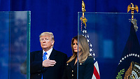 NEW YORK, NEW YORK - NOVEMBER 11: US President Donald Trump and first lady Melania Trump attend  the Veterans Day event at Madison Square Park November 11, 2019, in New York, New York.  (Photo by Eduardo Munoz/VIEWpress)