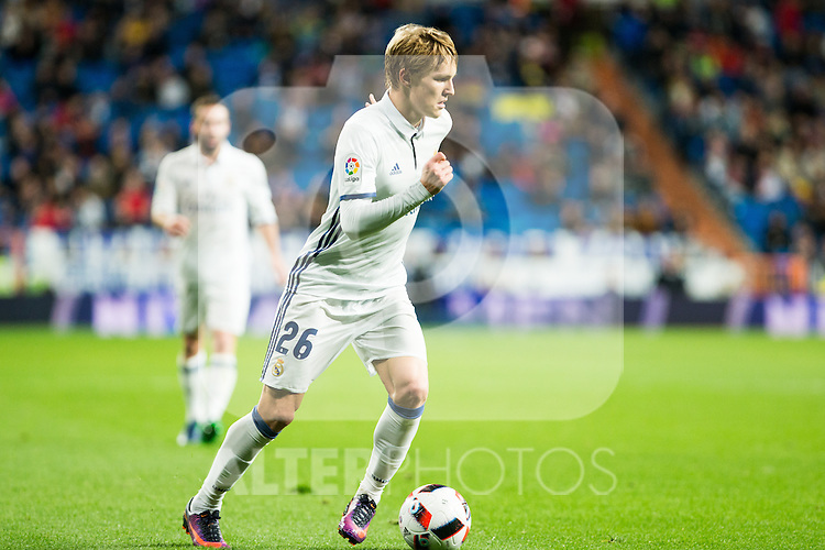 "Real Madrid's Martin Odegaard during the match of ""Copa del Rey"" between Real Madrid and Cultural Leonesa at Santiago Bernabeu Stadium in Madrid, Spain. November 29, 2016. (ALTERPHOTOS/Rodrigo Jimenez)"