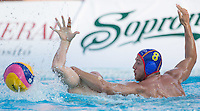 Albert Espanol (R) of Spain fighst for the ball during the Vodafone Waterpolo Cup in Budapest, Hungary on July 15, 2012. ATTILA VOLGYI