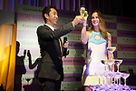 """(L to R) Taijiro Nakamura, Leighton Meester, September 25 2014, Tokyo, Japan : (L to R) Taijiro Nakamura President of Stone Market CO., LTD. and the American singer, model and actress Leighton Meester drink champagne during the press conference and VIP party of the new fragrance """"ST. Rillian"""" by Stone Market on September 25 in Tokyo, Japan. The name of the fragrance comes from Stone/ST and Trillion, and the product will be released on Friday September 26. The perfume contains power stones and cubic zirconia inside the bottle and has variation of fragrance.  (Photo by Rodrigo Reyes Marin/AFLO)"""
