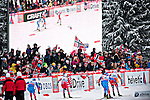 HOLMENKOLLEN, OSLO, NORWAY - March 16: (R-L) Petter Eliassen of Norway (NOR), Roland Clara of Italy (ITA), Alexander Legkov of Russia (RUS), Martin Johnsrud Sundby of Norway (NOR) and Ilia Chernousov of Russia (RUS) during the Men 50 km mass start, free technique, at the FIS Cross Country World Cup on March 16, 2013 in Oslo, Norway. (Photo by Dirk Markgraf)