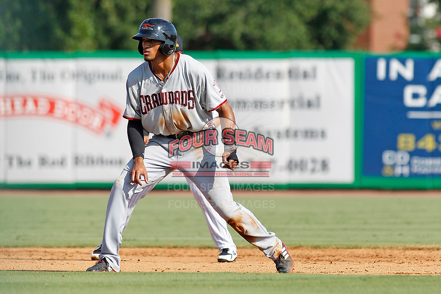 Hickory Crawdads outfielder Bubba Thompson (25) on second base after reaching on a bunt during a game against the Charleston Riverdogs at the Joseph P. Riley Ballpark in Charleston, South Carolina.  Hickory defeated Charleston 8-7. (Robert Gurganus/Four Seam Images)
