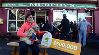 21-9-2017: Mary Murphy, Post Master, Rerrin on Bere Island in County Cork who sold a 500,000 Euro Millions Plus pictured celebrating on Thursday.<br /> Photo: Don MacMonagle<br /> <br /> Issued on behlf of The National Lottery