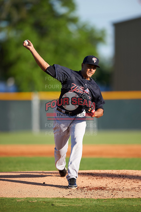 Tampa Yankees starting pitcher Vicente Campos (34) delivers a pitch during a game against the Lakeland Flying Tigers on April 7, 2016 at Henley Field in Lakeland, Florida.  Tampa defeated Lakeland 9-2.  (Mike Janes/Four Seam Images)