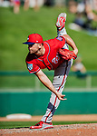 25 February 2019: Washington Nationals pitcher Wil Crowe on the mound during a pre-season Spring Training game against the Atlanta Braves at Champion Stadium in the ESPN Wide World of Sports Complex in Kissimmee, Florida. The Braves defeated the Nationals 9-4 in Grapefruit League play in what will be the Braves' last season at the Disney / ESPN Wide World of Sports complex. Mandatory Credit: Ed Wolfstein Photo *** RAW (NEF) Image File Available ***