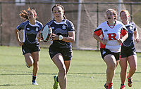 Penn State women's rugby Corinne Heavner en route to scoring a try against Rutgers 2 women's rugby during the Big Ten Women's Rugby 7's Tournament on April 9, 2017. Penn State won 73-0. Photo/©2017 Craig Houtz
