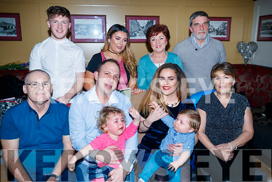 Engagement Ciara Ward and Lucas Rusek, Tralee, who celebrated their engagement party with family at the Brogue Inn, Tralee, on Saturday night last, front l-r: Thomas Ward, Cliff Flynn, Carlie Rusek, Lucas Rusek, Jayce Rusek Theresa Ward. Ryan Ward, Theresa Ward, Christina Christoph