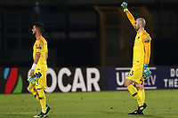 Paul Bernardoni of France celebrates at the end of the match<br /> Serravalle 21-06-2019 Stadio San Marino Stadium <br /> Football UEFA Under 21 Championship Italy 2019<br /> Group Stage - Final Tournament Group C<br /> France - Croatia<br /> Photo Cesare Purini / Insidefoto