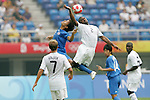 07 August 2008: Hiroyuki Taniguchi (JPN) (left) and Marvell Wynne (USA) (2) challenge for a header.  The men's Olympic team of the United States defeated the men's Olympic soccer team of Japan 1-0 at Tianjin Olympic Center Stadium in Tianjin, China in a Group B round-robin match in the Men's Olympic Football competition.